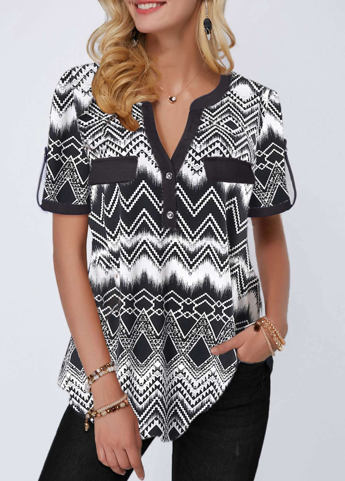 Roll Tab Sleeve Split Neck Geometric Print Blouse