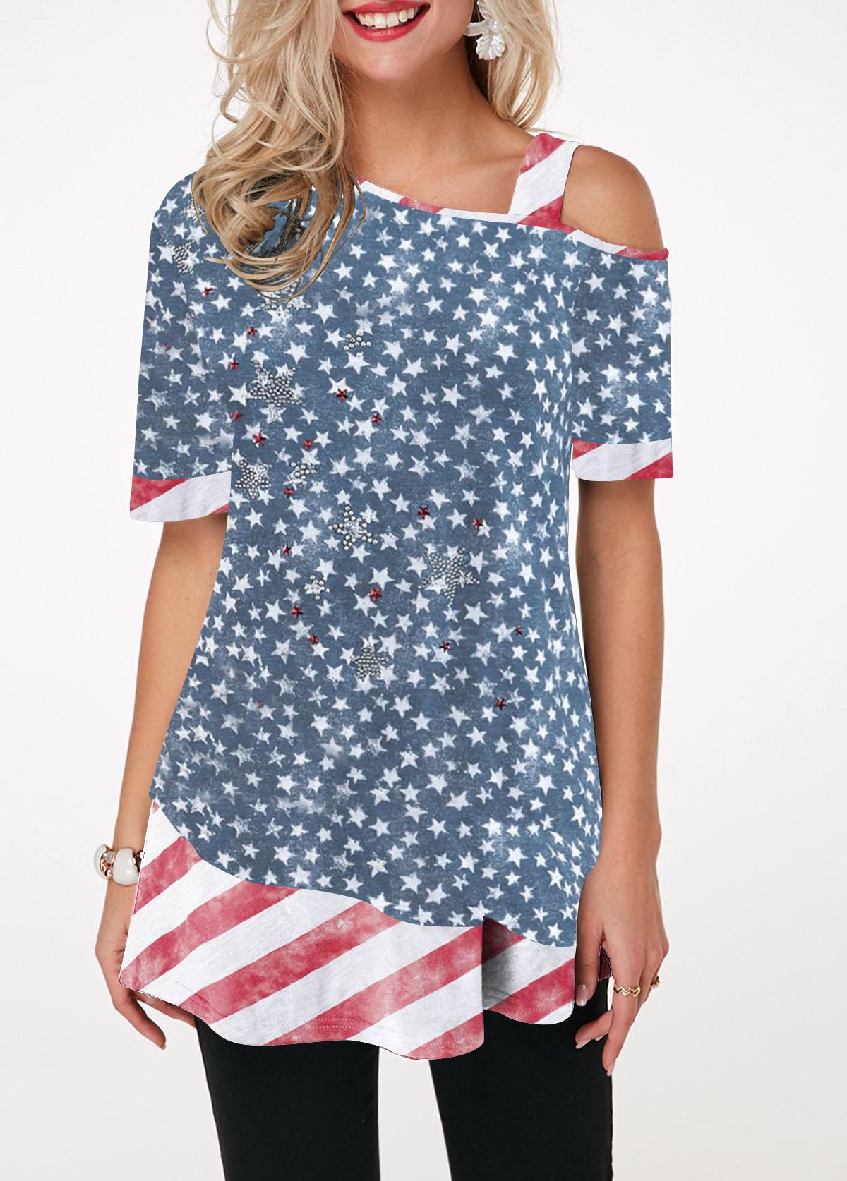 Star Print Half Sleeve Skew Neck T Shirt