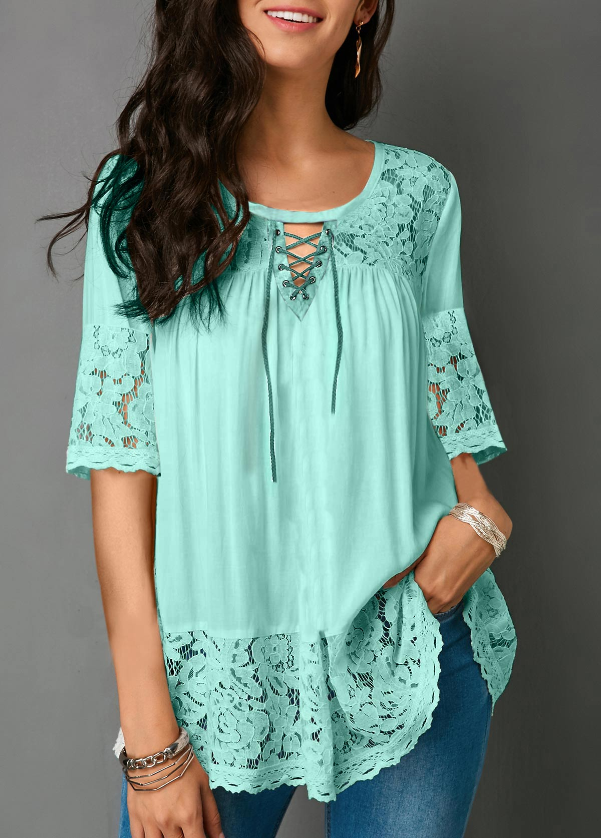 Half Sleeve Lace Panel Cutout Front Blouse