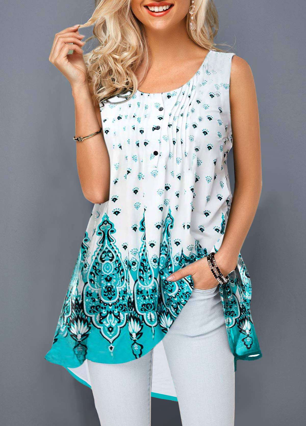 Crinkle Chest Round Neck Printed T Shirt