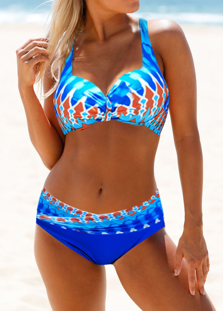 Padded Dazzle Color Printed Cutout Back Bikini Set