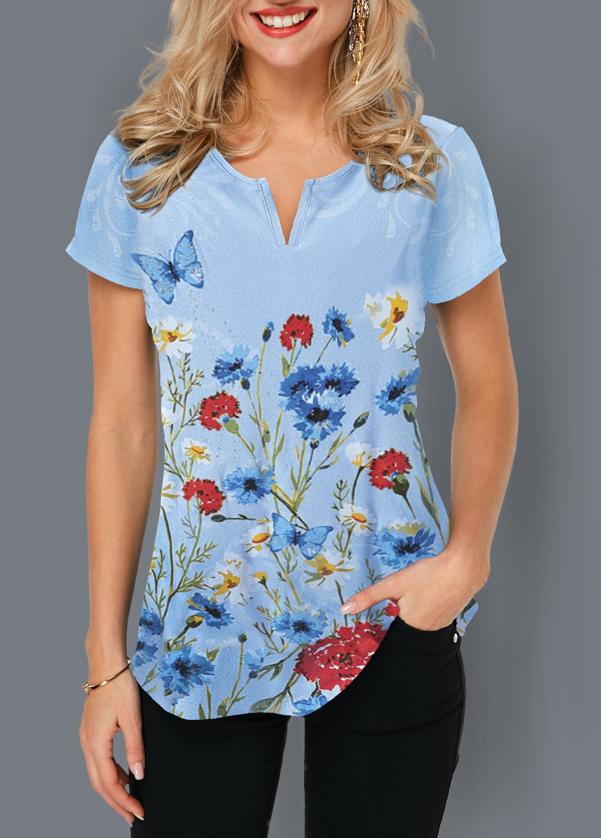 Curved Hem Notch Neck Floral Print T Shirt
