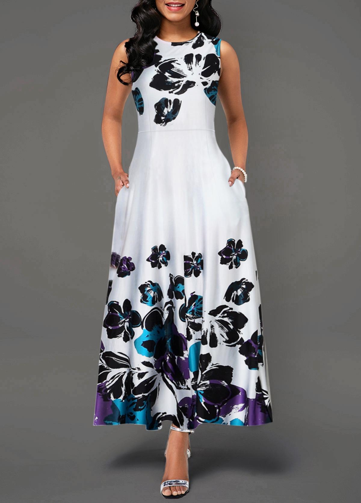 High Waist Flower Print Pocket Dress