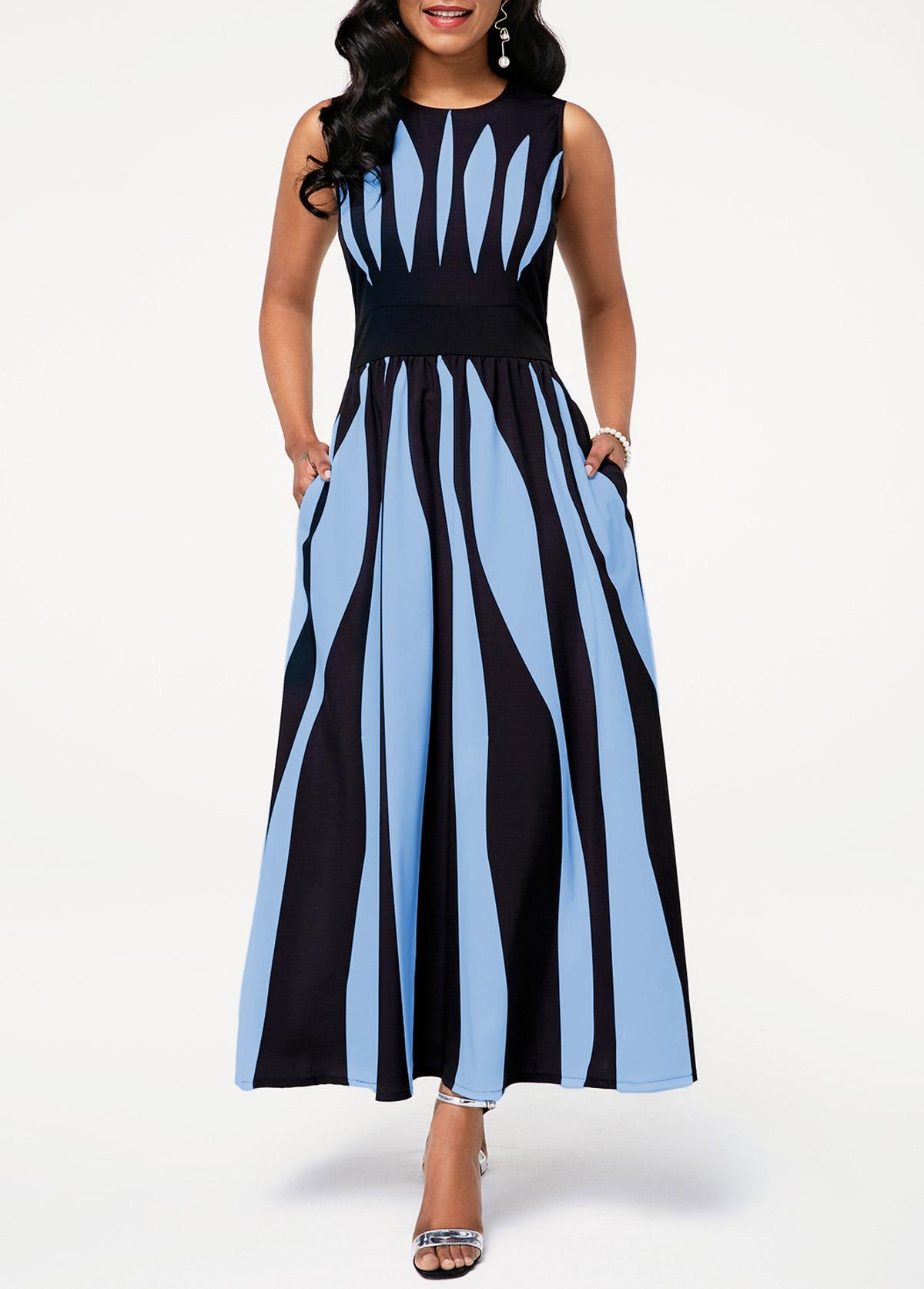 Stripe Print Round Neck Sleeveless Pocket Dress