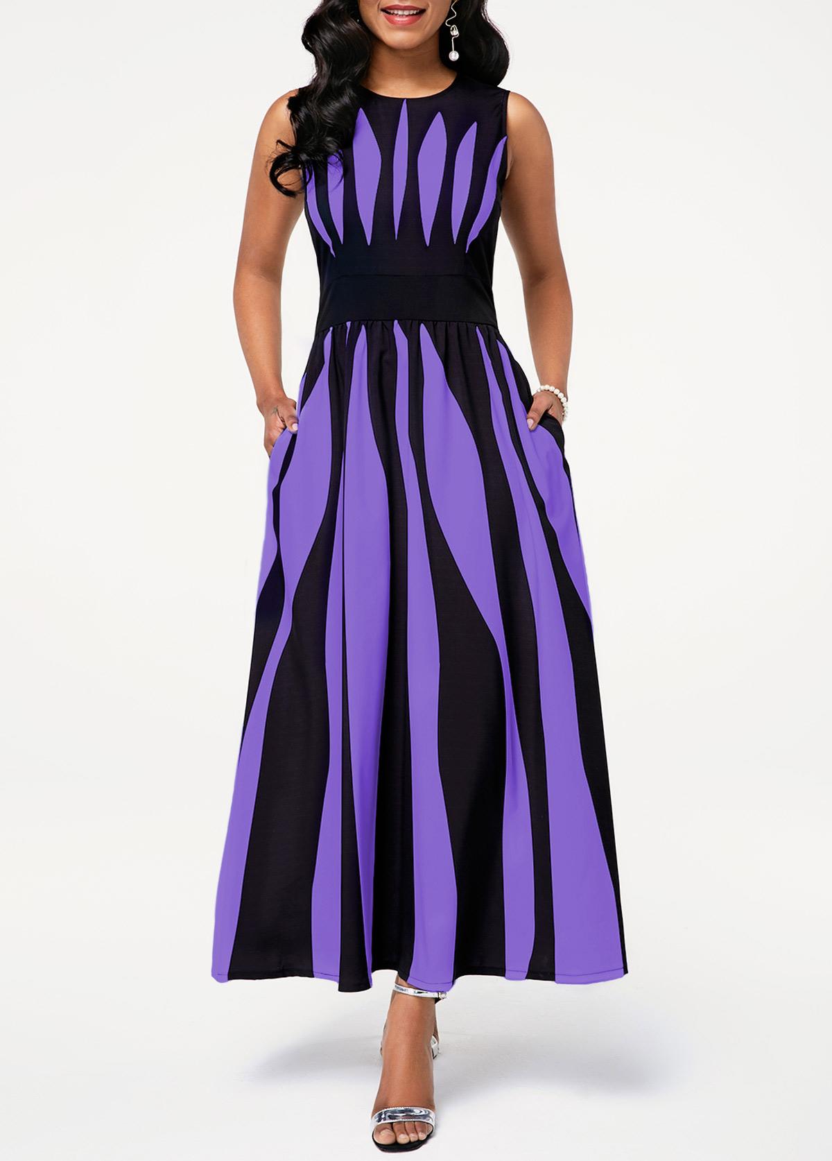 Round Neck Stripe Print Pocket Dress