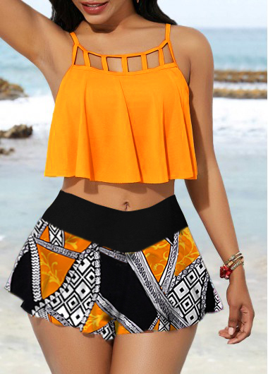 Spaghetti Strap Cage Neck Top and Printed Pantskirt
