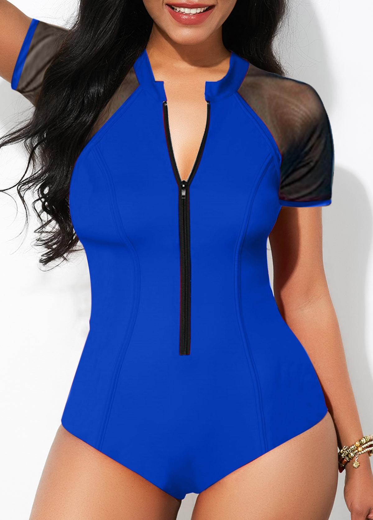 2067d3b9757 Zipper Front Cutout Back One Piece Swimwear   Rosewe.com - USD $28.34