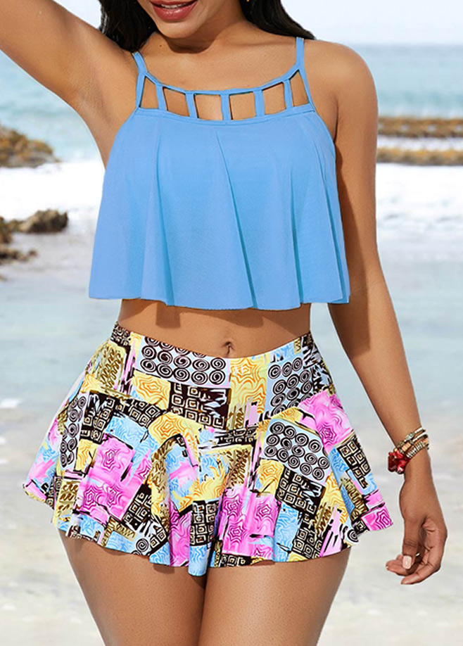 Cage Neck Swimwear Top and Printed Pantskirt