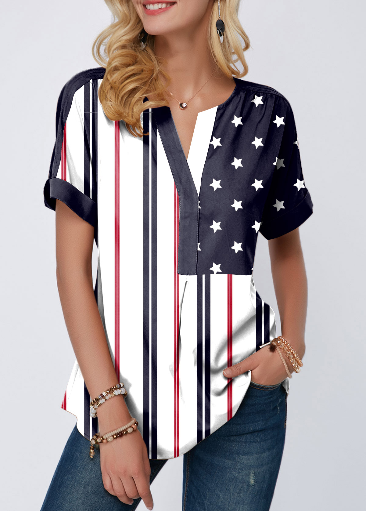 Short Sleeve Split Neck Curved Hem American Flag Print Blouse
