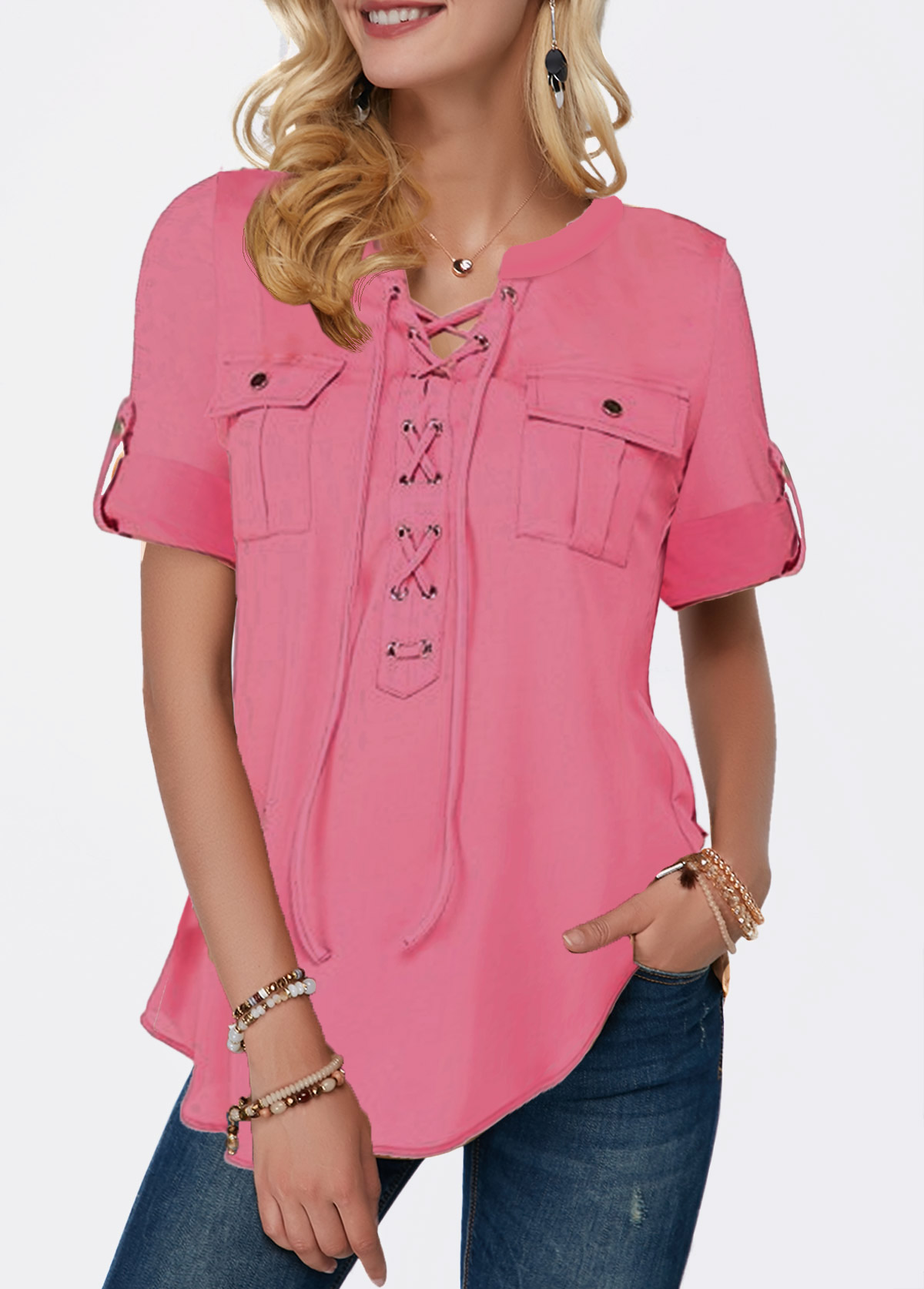 Lace Up Front Pocket Detail Pink Blouse