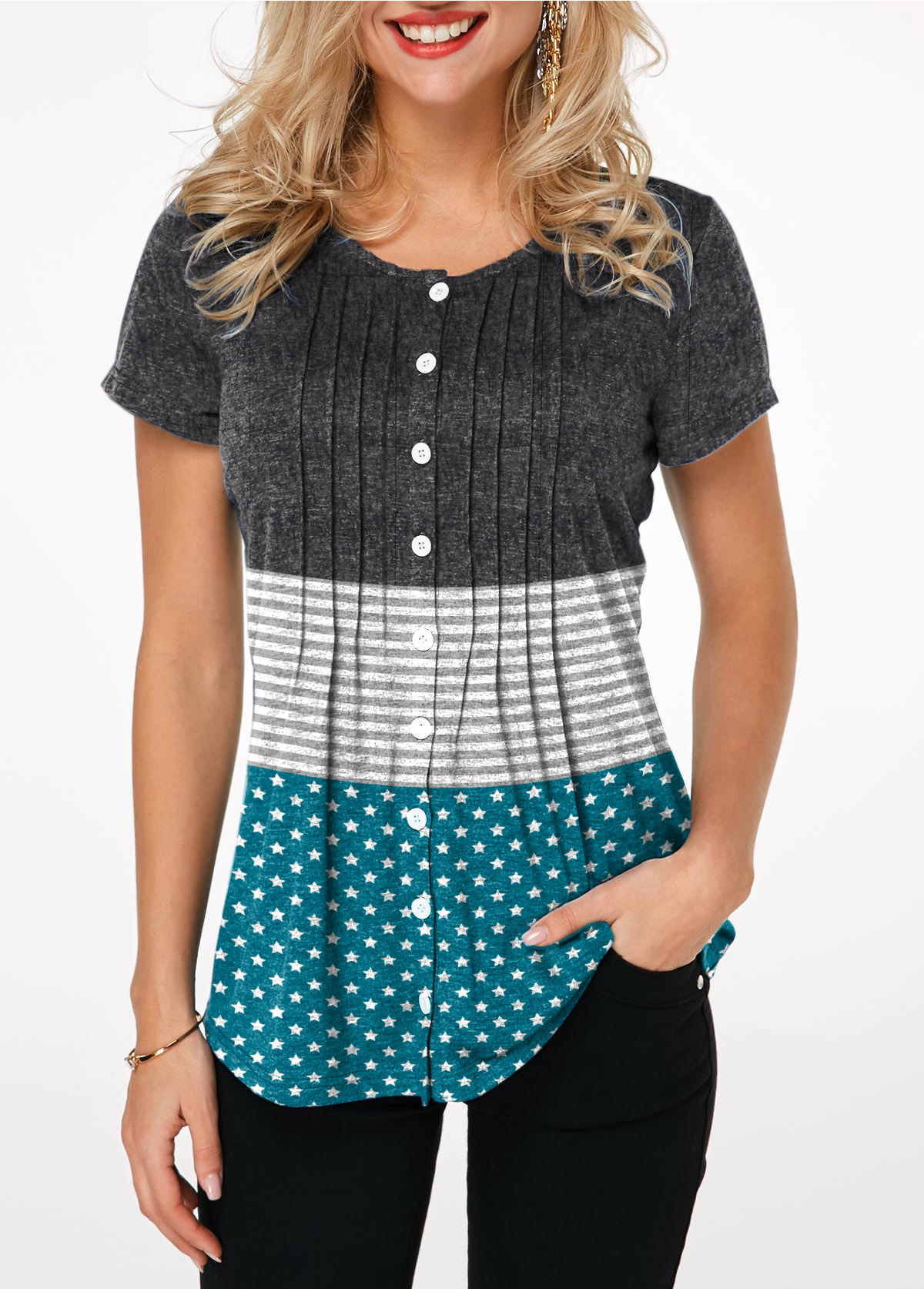 Button Up Round Neck Crinkle Chest T Shirt
