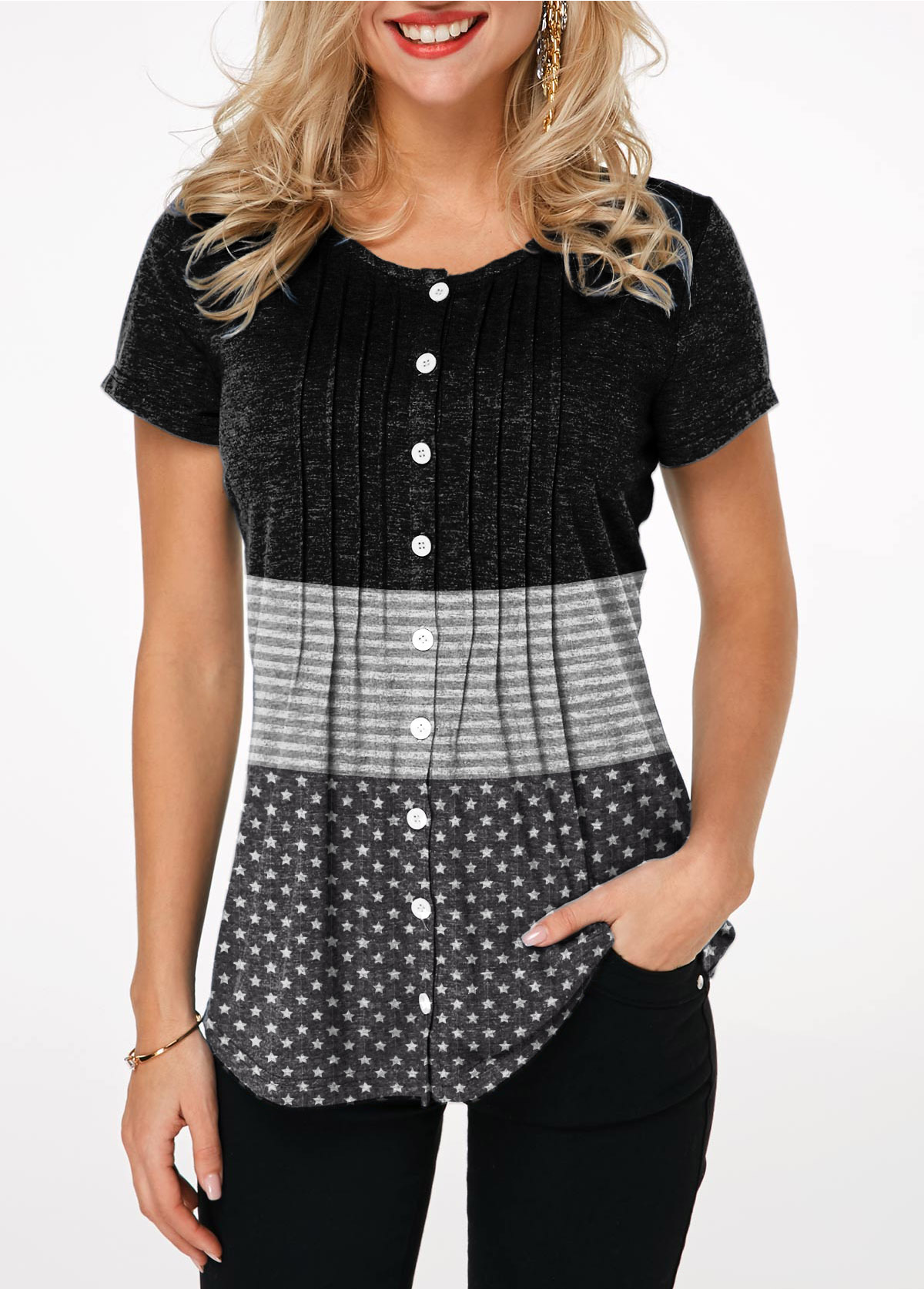 Crinkle Chest Round Neck Button Up T Shirt