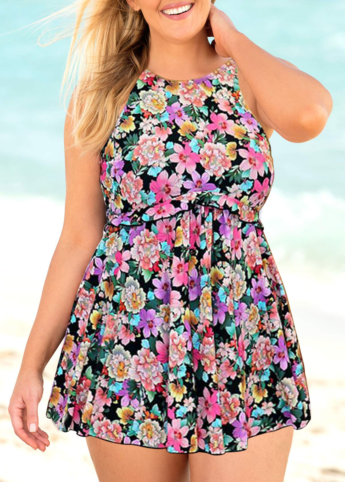 Padded Floral Print Plus Size Swimdress and Shorts