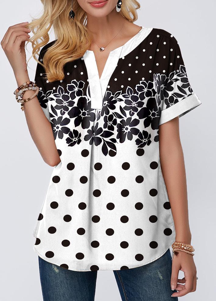 Short Sleeve Dot and Flower Print T Shirt