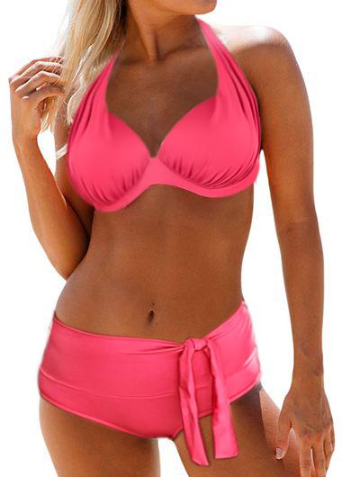Halter Bowknot Detail Padded Bikini Set