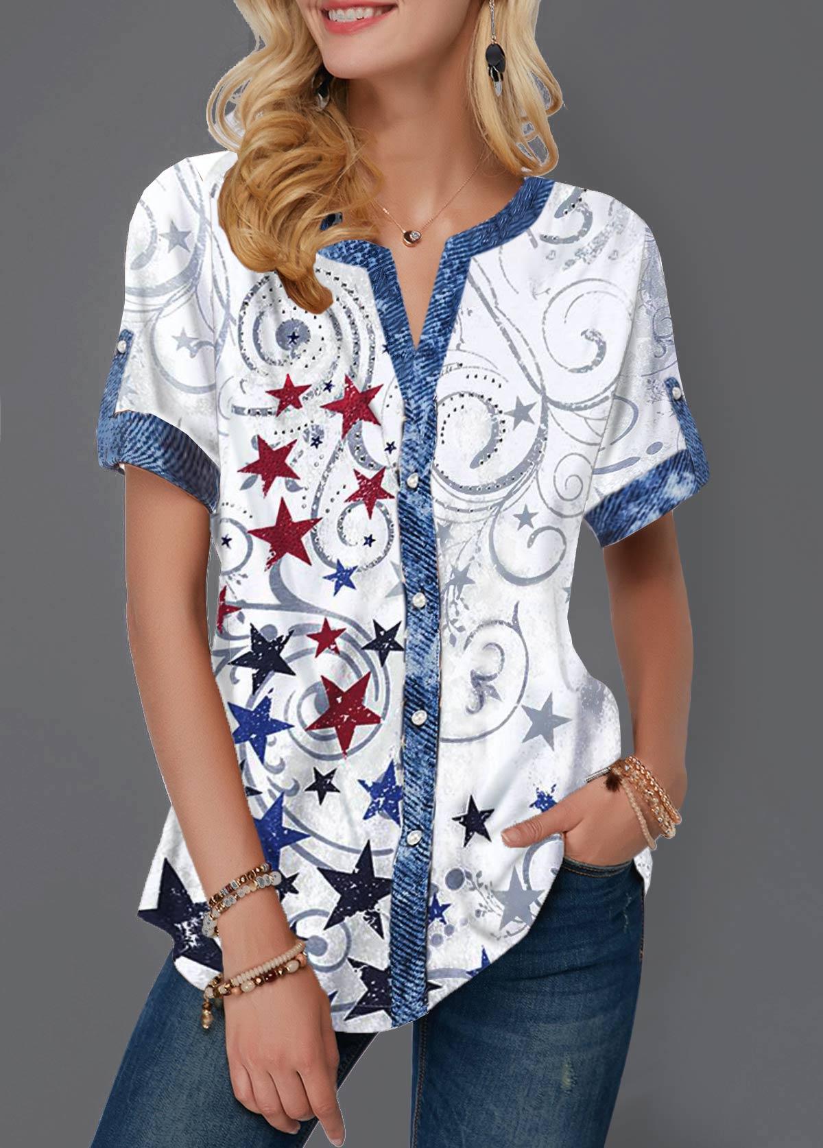 Short Sleeve Split Neck Star Print Blouse