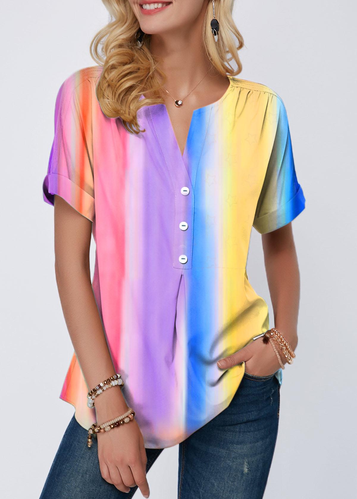 Tie Dye Print Rainbow Color Button Detail T Shirt
