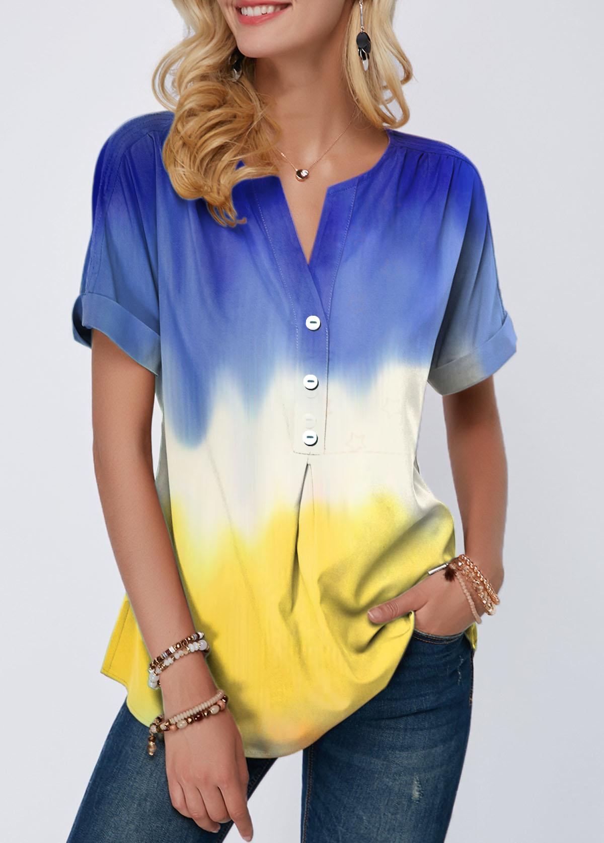 Button Detail Color Block Split Neck T Shirt