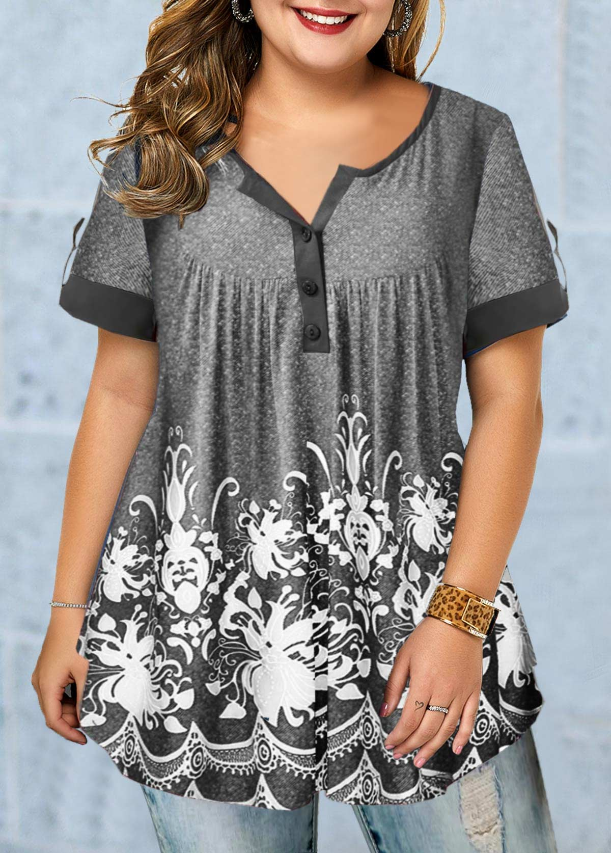 Printed Short Sleeve Button Detail Plus Size Blouse