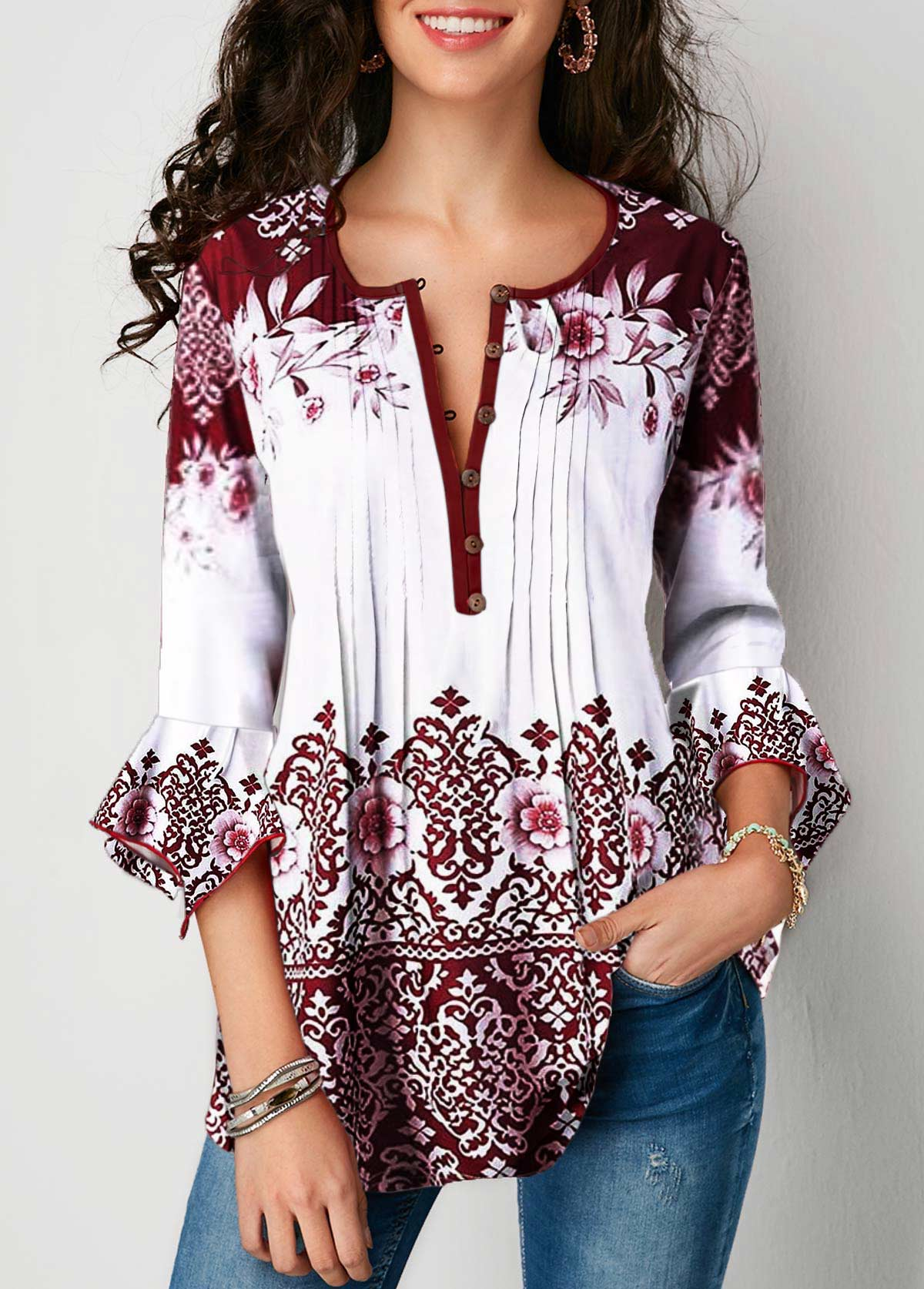 Flare Cuff Crinkle Chest Tribal Print Blouse