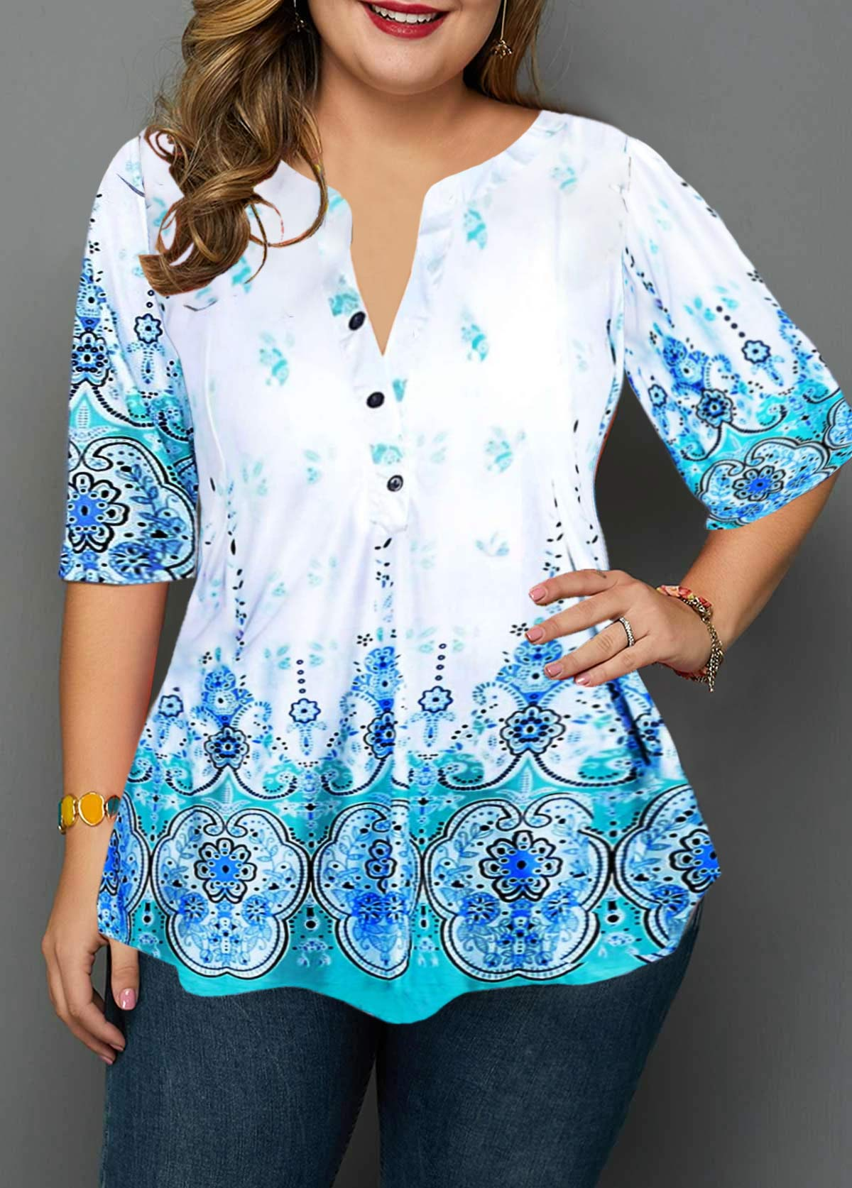 Plus Size Button Detail Split Neck Tribal Print Blouse