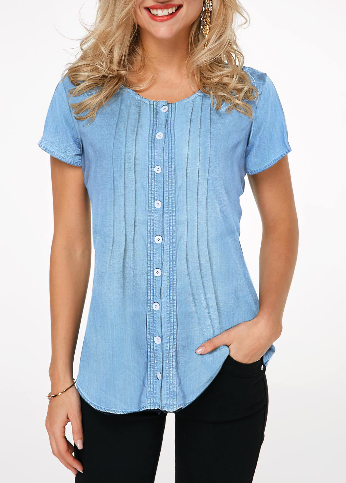 Button Up Short Sleeve Crinkle Chest Denim Shirt