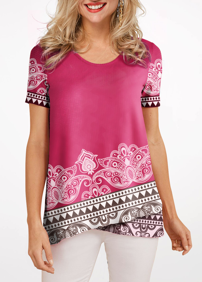 Crossover Hem Short Sleeve Round Neck Blouse