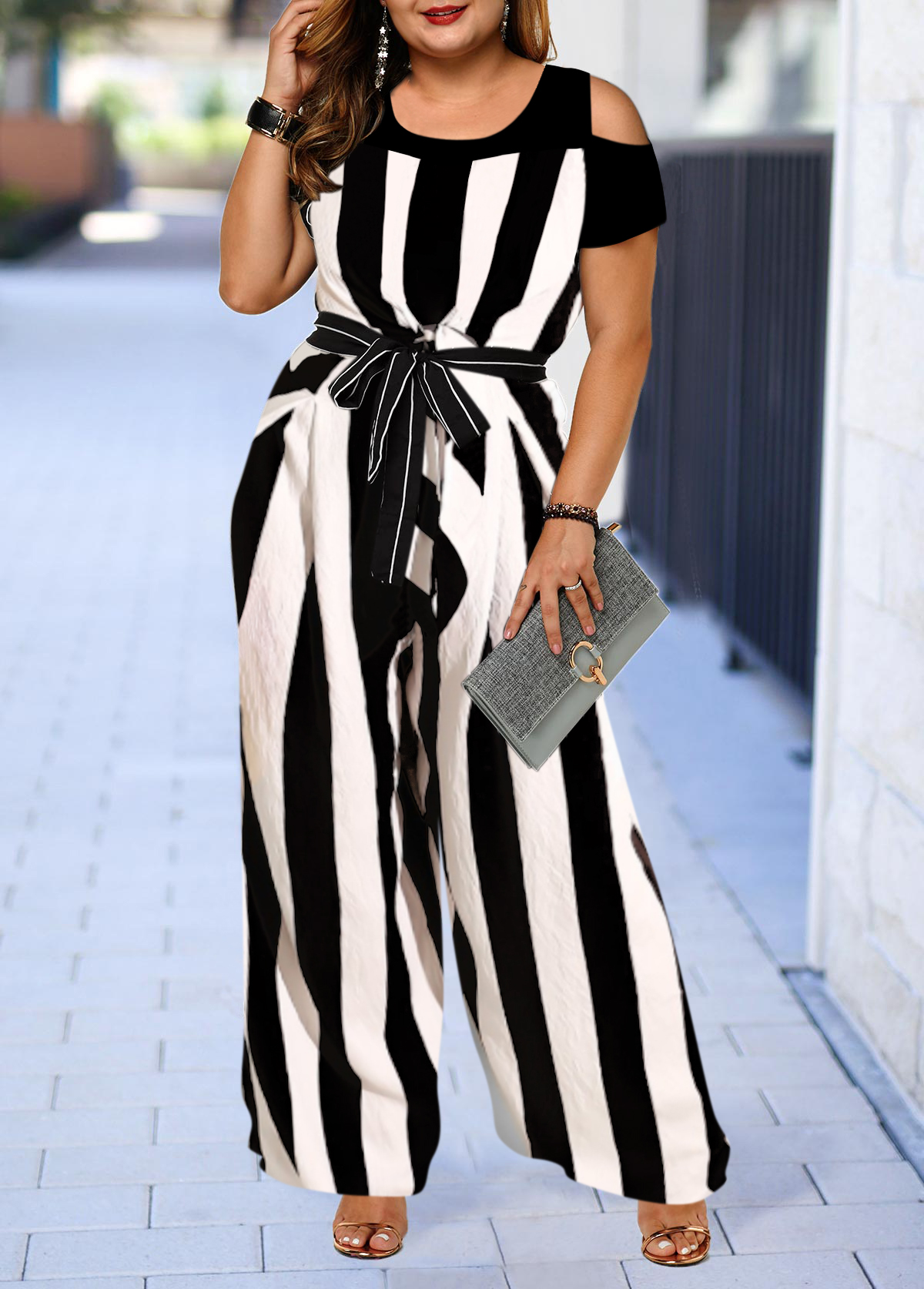 Plus Size Color Block Striped Cold Shoulder Jumpsuit