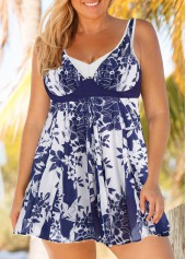 Keyhole Back Printed Plus Size Swimdress and Shorts - $31.97