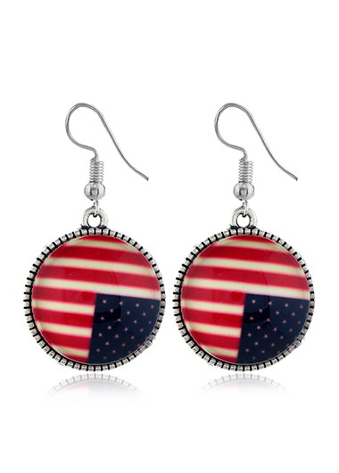 Mother's Day Gifts Round Shape American Flag Design Earrings for Women - One Size