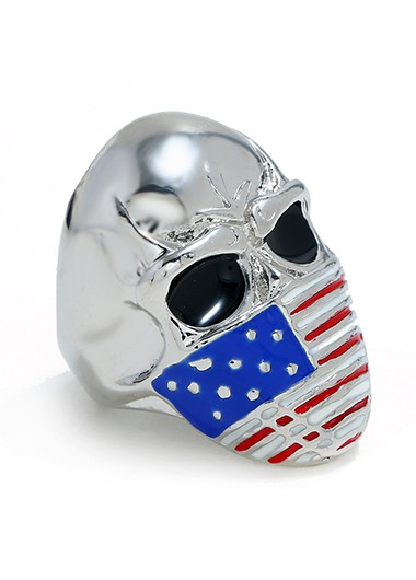 Mother's Day Gifts Women Silver Metal Flag Design Skull Ring - One Size