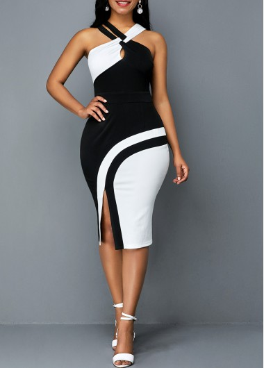 Women'S Black And White Sleeveless Side Slit Sheath Casual Dress Color Block Midi Elegant Cocktail Party Dress By Rosewe - L