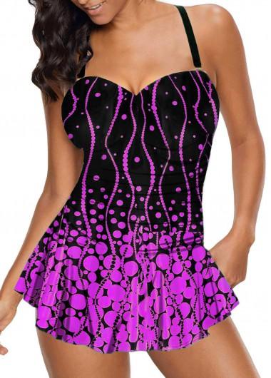 Open Back Polka Dot Print Swimdress and Panty