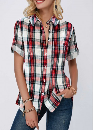 Plaid Print Button Up Turndown Collar Shirt - L