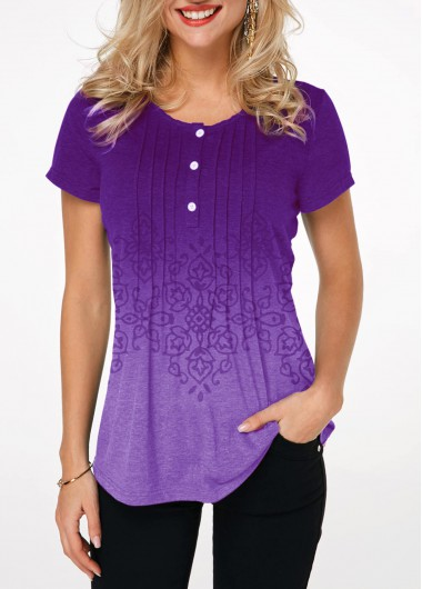 Button Detail Crinkle Chest Printed Gradient T Shirt - L