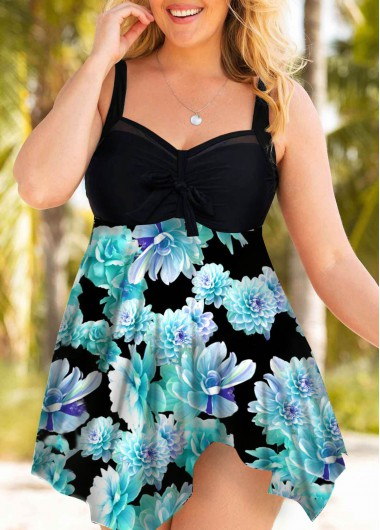 Bowknot Detail Printed Plus Size Swimdress and Shorts - 0X