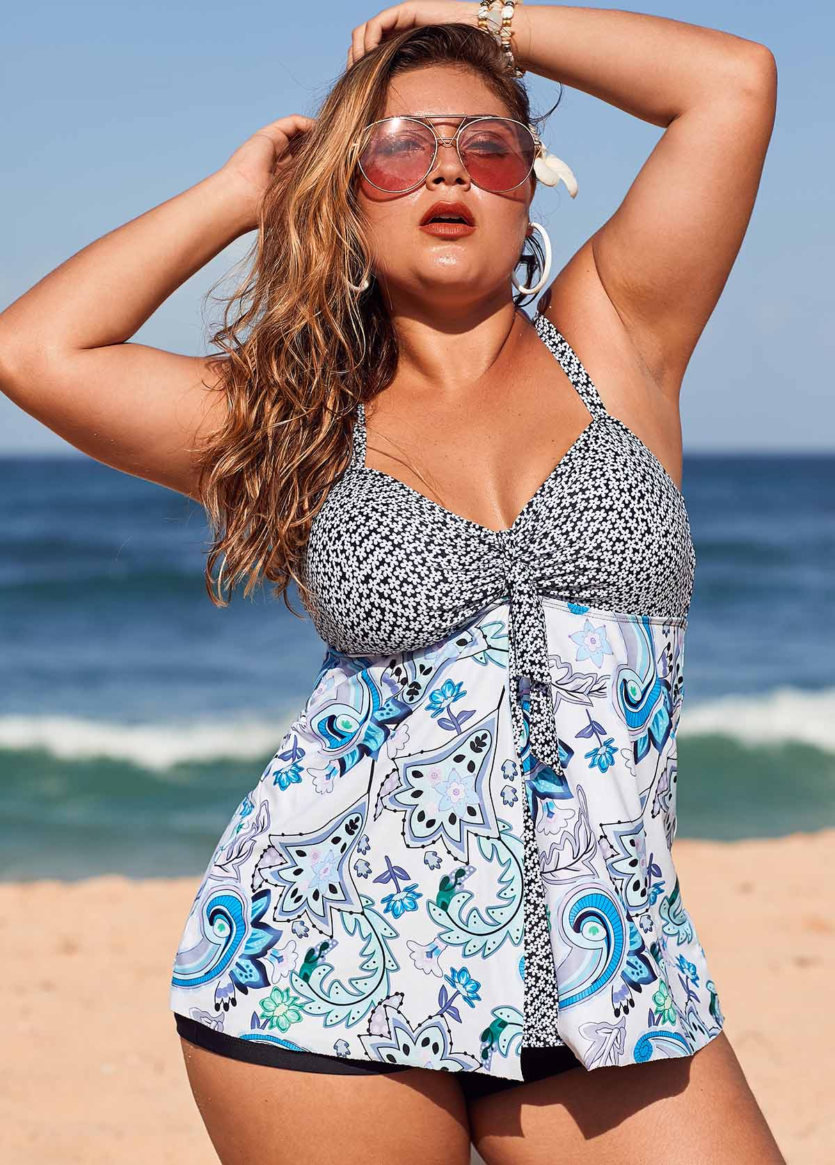 Plus Size Floral Print Tankini Top and Shorts