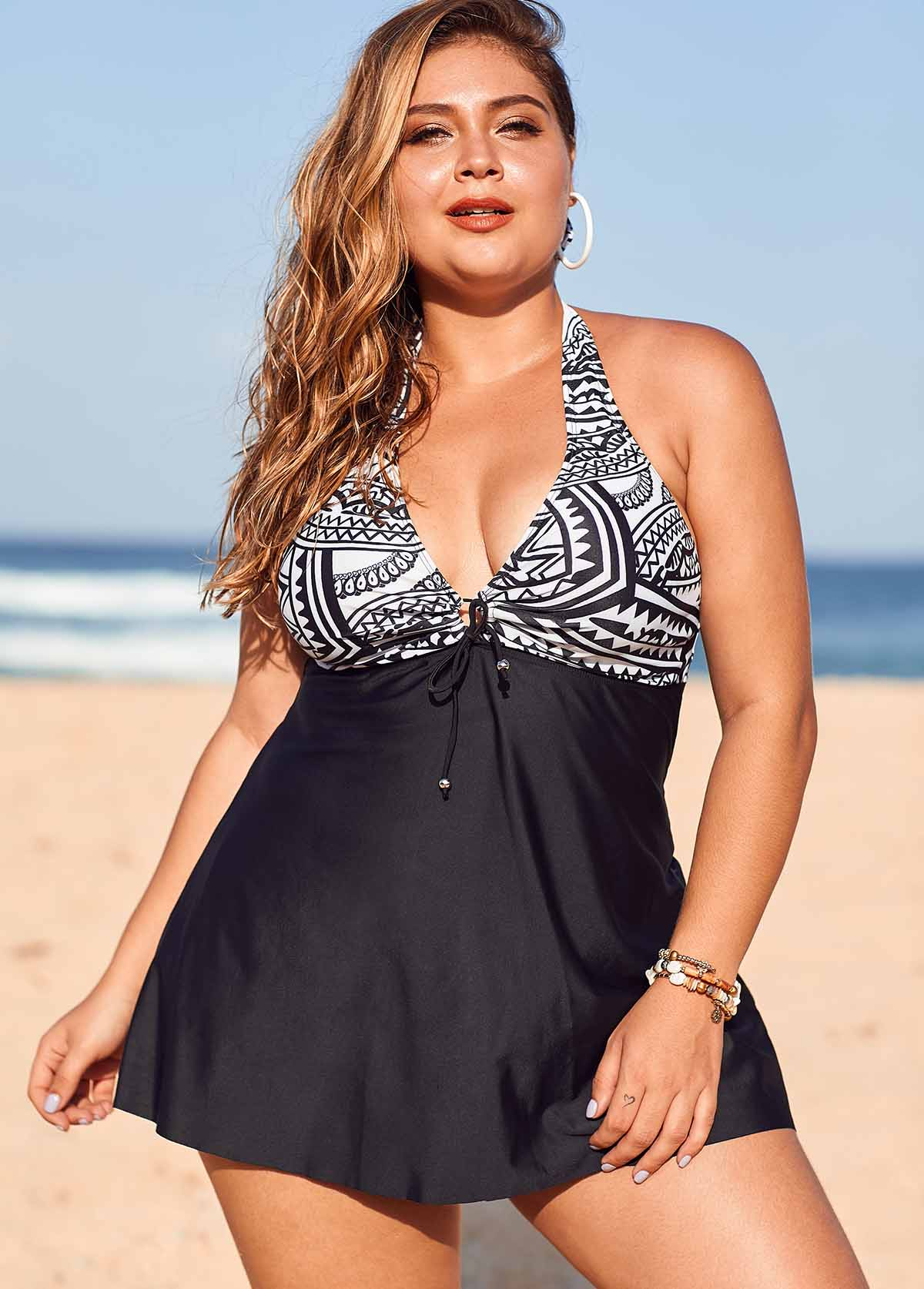Plus Size Printed Halter Neck Knot Detail Swimdress and Shorts