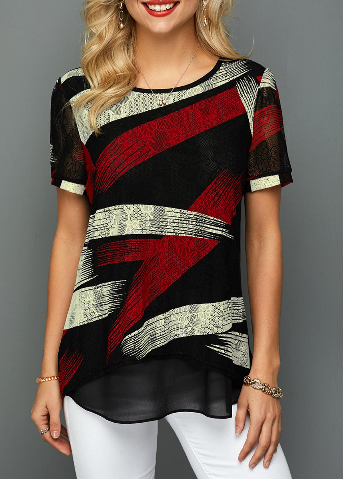 Short Sleeve Curved Hem Lace T Shirt