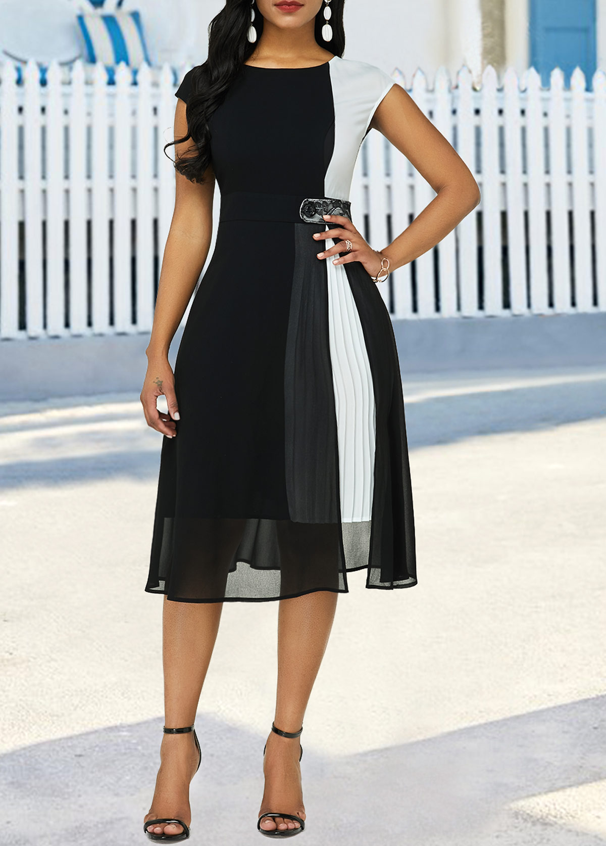 Cap Sleeve Color Block High Waist Dress