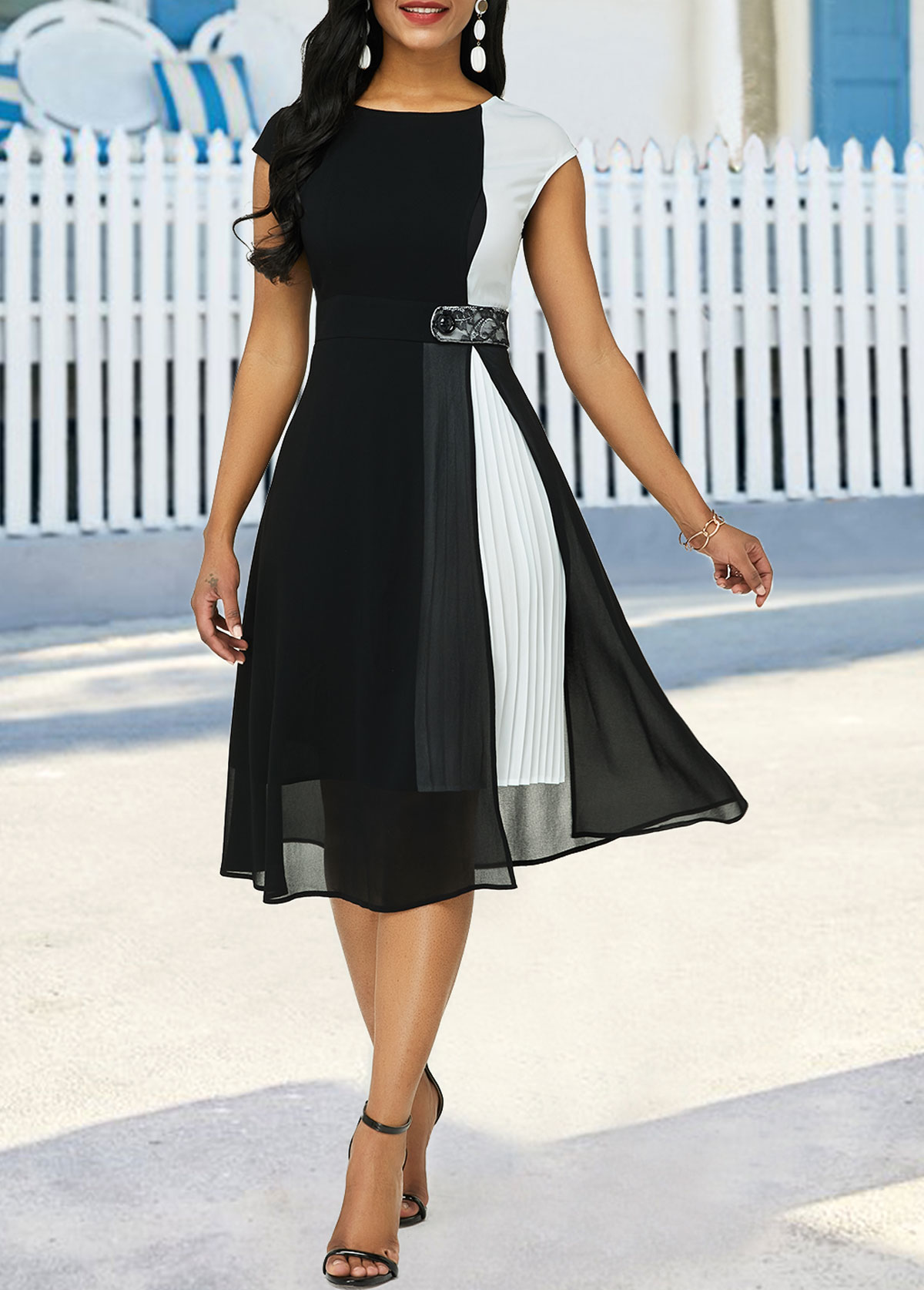 Cap Sleeve Color Block High Waist Dress