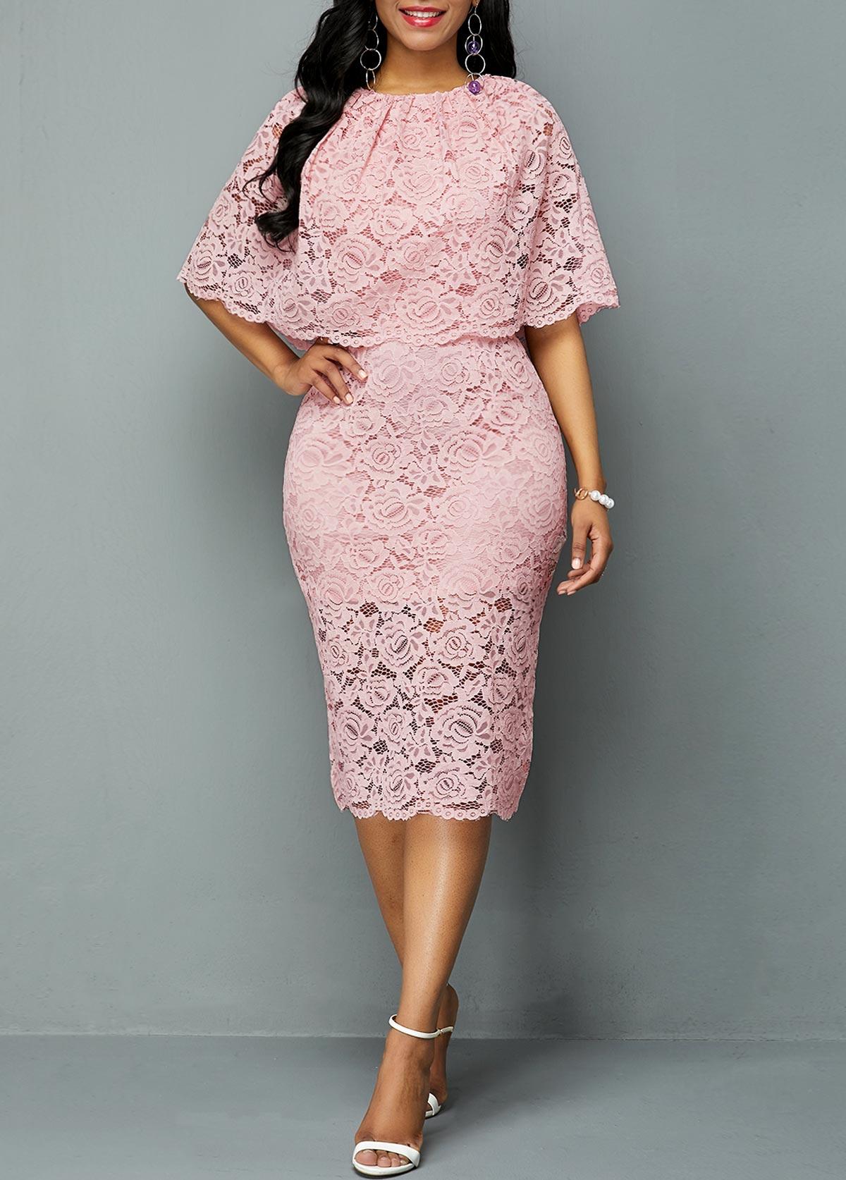 Light Pink Half Sleeve Overlay Embellished Lace Dress