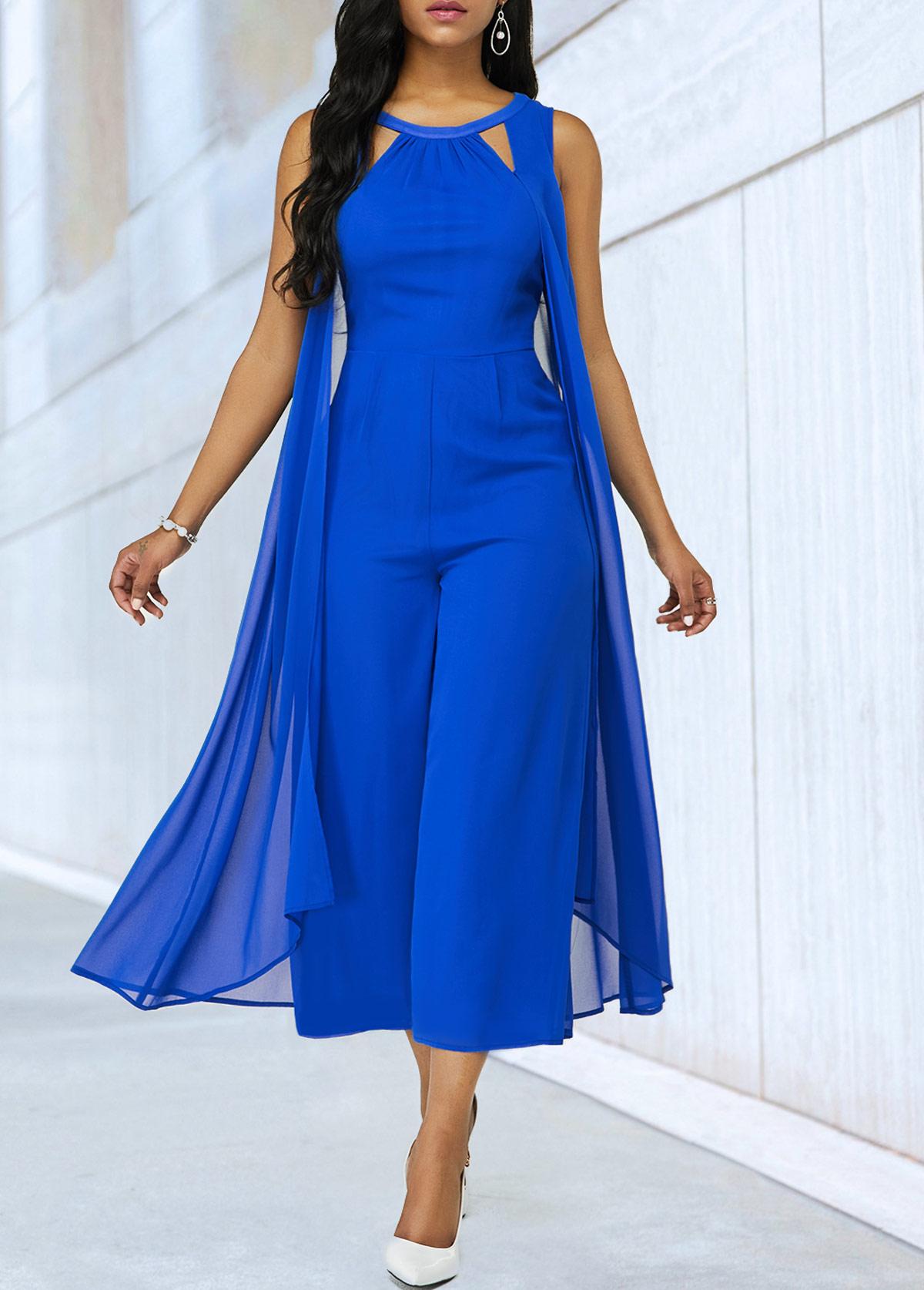 Royal Blue Cutout Neckline Chiffon Jumpsuit