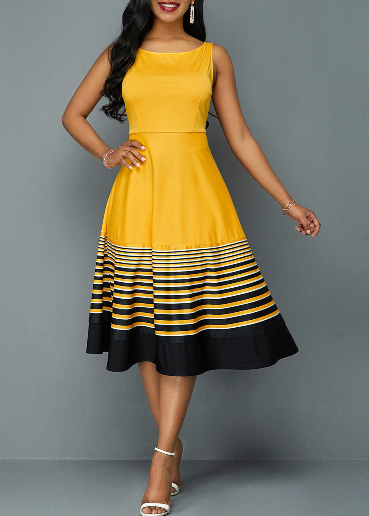 Round Neck Stripe Print High Waist Dress