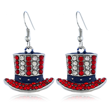 Rhinestone Decorated Hat Shaped Earrings for Women