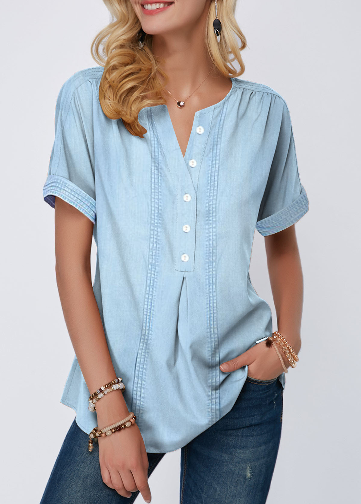 Split Neck Roll Sleeve Button Front Blouse