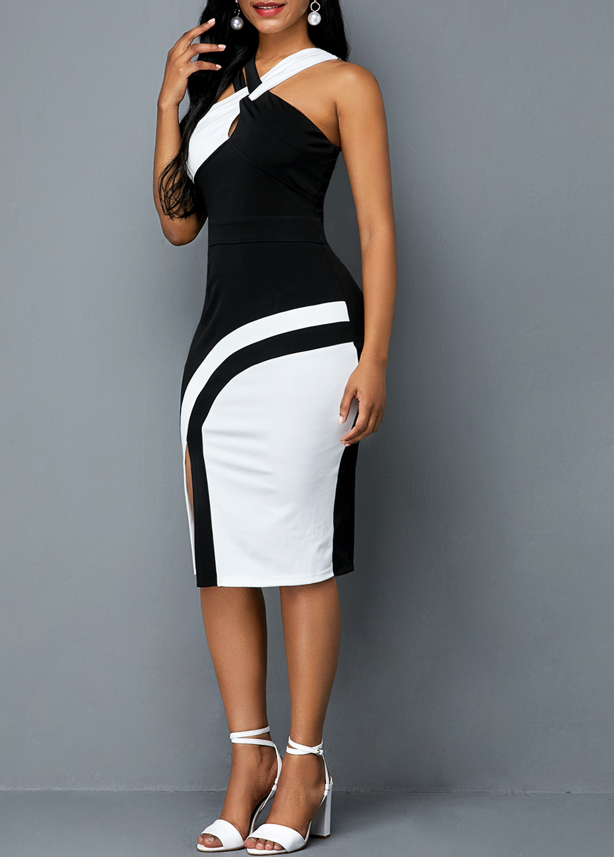 Color Block Sleeveless Side Slit Sheath Dress