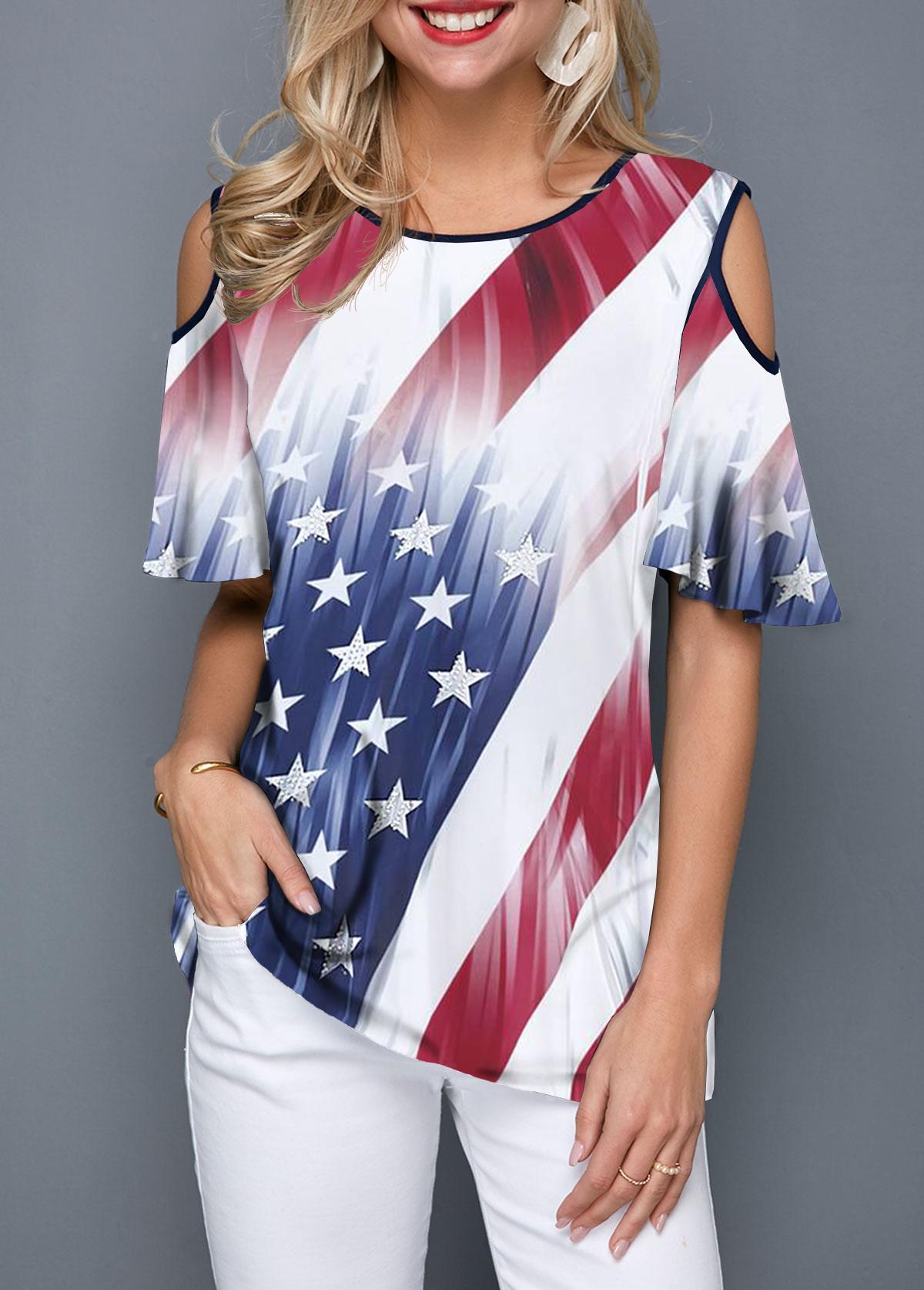 Cold Shoulder Contrast Stitch Printed T Shirt