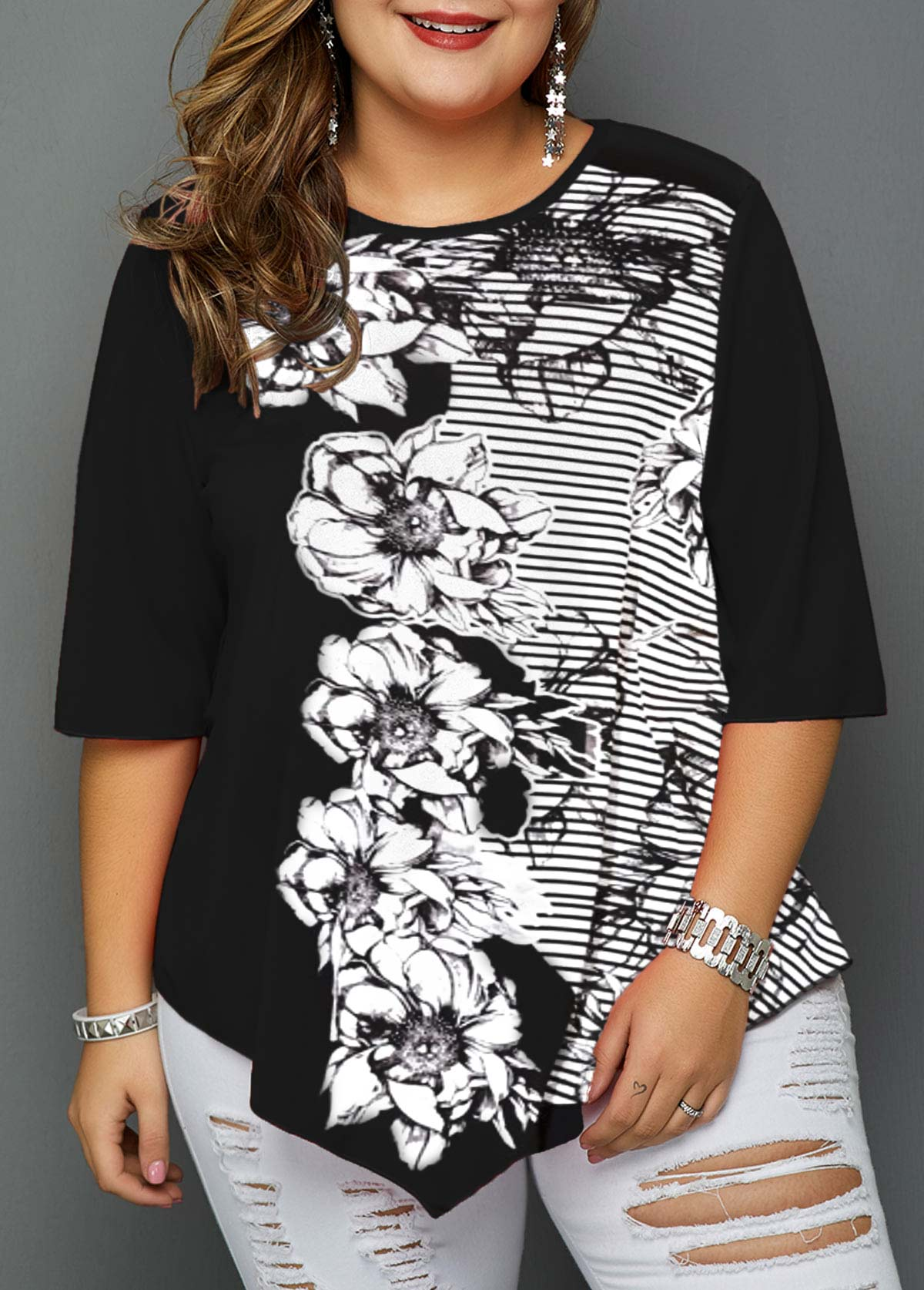 Flower Print Asymmetric Hem Plus Size Blouse