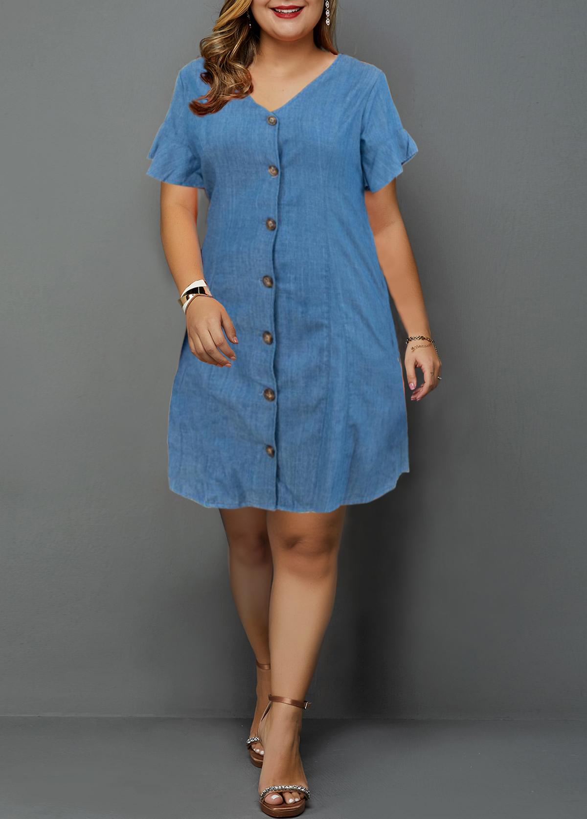 Plus Size Denim V Neck Button Up Shirt Dress